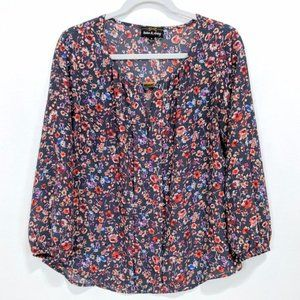 Twine & String Long Sleeve Floral Top M Blue Red